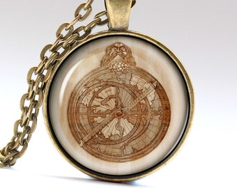 Astrology Necklace, Astrolabio Pendant, Astrolabe Jewelry, Wood Charm LG1001