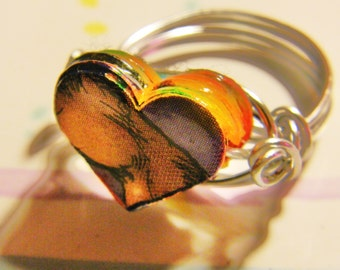 Silver Wire Wrapped  Paper Bead Heart Ring