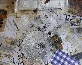 Cut Glass Little Dishes - Diamond Pattern - Very Vintage & Cool!