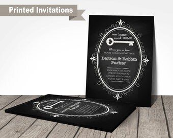 PRINTED new home invitation, house warming invitations, new home open house invitation, chalkboard