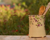 Ceramic Cutlery Holder with flower design, Lathyrus Odoratus, Gift, Handmade Pottery, Modern Kitchenware