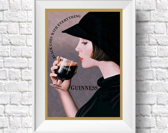 Lady Guinness Poster Guinness Ireland Retro Art Print Beer Poster Beer Wall Art Guinness Poster Guinness Sign Sizes up to 50cm x 70cm