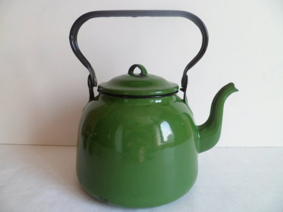 retro tea kettle vintage enamel tea kettle green metal teapot retro kitchen 1949