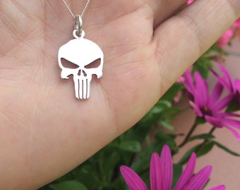 The Punisher necklace, sterling silver skull, Sterling Silver