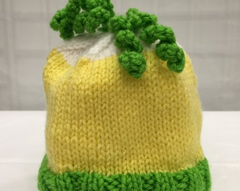 Green and Yellow knit Childrens Cap