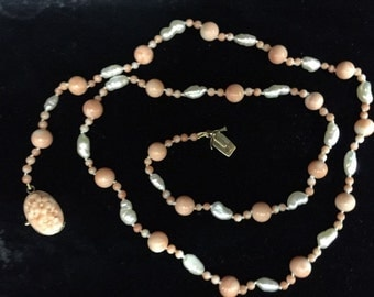 Carved Pink Coral Necklace With Pearls & 14K Yellow Gold