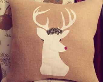 Throw Pillows/Deer Burlap Pillow/Christmas Pillow/Christmas Decor/Deer Decor