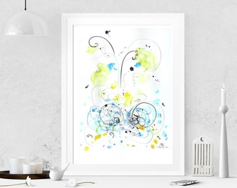 Abstract painting on paper Abstract art Watercolor painting Modern art Original painting Abstract wall art Wall hanging Home decor Blue