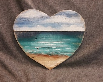 Heart Beach Pallet wall Art, Hand painted seascape, handmade, Gift, Cottage, upcycled, Wall art, Distressed, Shabby Chic, Love