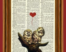 Owl Valentine, I love you! Dictionary Upcycled Dictionary Art Print Poster