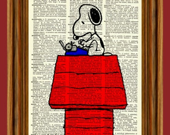 "Snoopy at Typewriter from Charlie Brown ""Peanuts"" Upcycled Dictionary Art Print Poster"