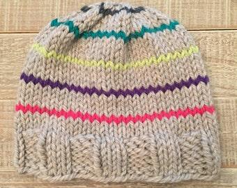 Lily: Girls Striped Rainbow Hat