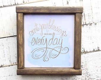 READY TO SHIP, Count Your Blessings, framed sign, Nursery Art, Nirsery Sign, Quote Sign,blessed sign