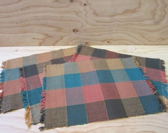 Set of 4 Vintage Hand-Woven Multi-Color Placemats