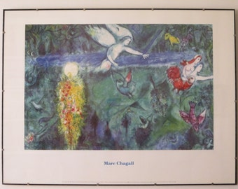 "1992 Marc Chagall Framed Exhibition Poster ""Adam et Eve chasses du Paradis"" (Adam and Eve expelled from Paradise) * 30.75"" x 24"" With Frame"
