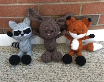 Crocheted Woodland Creatures - fox/rabbit/raccoon