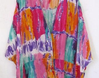COUP0N C0DE Sale!!Marked Down 25%A Women's,Vintage 80's GROOVY AVANTE GARDE era Rayon Tye Dye Oversize Jacket.xl