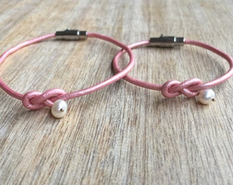 Mommy and Me Bracelets, Pink Mother and Daughter Bracelets, Kids Bracelet, Leather Couple Bracelets, Pearl Leather Bracelets  LM001341