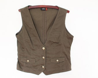 Brown Cotton Vest Womens Fitted Khaki Brown Waistcoat Hippie Boho Chic Festival Country Secretary   Large Size