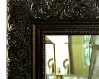 Bella Ornate Embossed Antique Bronze Gold Framed Wall Mirror