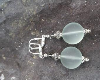 Seaglass and swarovski earrings