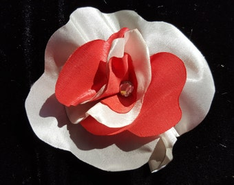 Ivory and Coral Flower Hair Clip