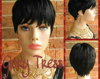 ON SALE // Short Razor Cut Full Wig, Pixie Cut Hairstyle, 100% Remy Human Hair Wig // REVIVE