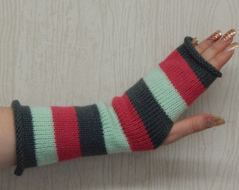 Striped fingerless gloves, womens arm warmers, knit fingerless mittens, bright hand warmers, handmade wristwarmers, CHOOSE COLOURS  and SIZE