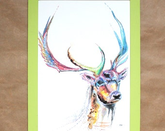 Watercolour Stag Print ~ stag print, stag art, deer print, animal art, stag watercolour, deer illustration, stag illustration, stag wall art