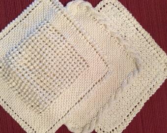 Handknit, 100% cotton, set of three, Cream Spa cloths, washcloths, or Dishcloths