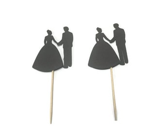 24 wedding couple toothpicks, wedding shower, wedding toothpicks, dessert toppers, appetizer picks, food picks, cupcake toppers