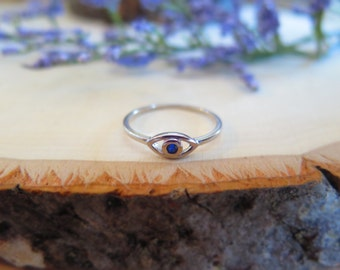 Sterling silver simple tiny evil eye ring
