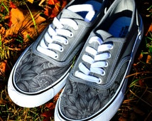 Hand Drawn Zentangle Designed Canvas Shoes