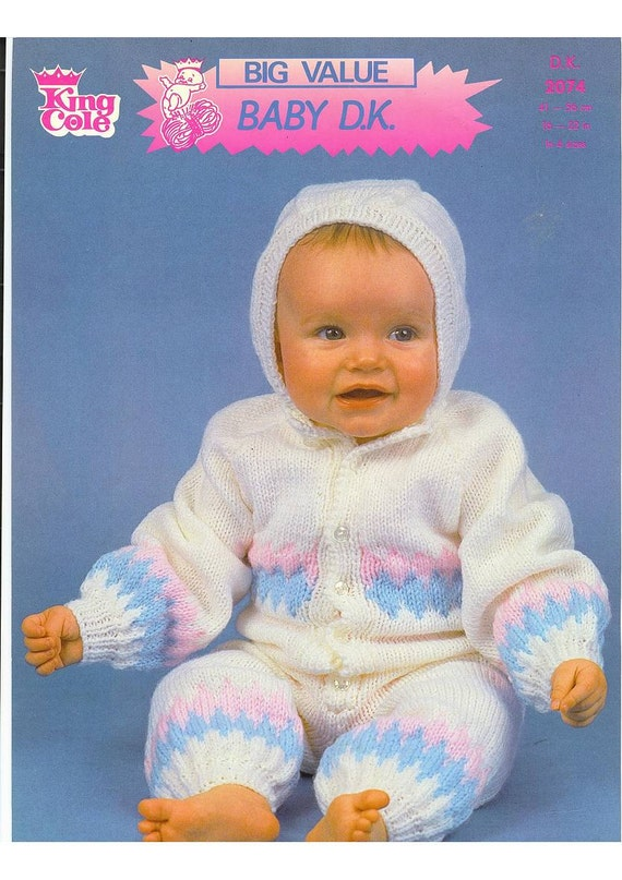 Knitted All In One Baby Suit Pattern : Vintage Knit Pattern Baby All in One Suit instant download