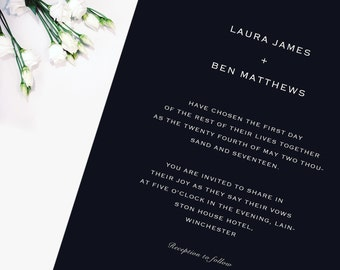 Simple Navy Blue Wedding Invitation & RSVP (Sample), 'Laura' Collection, Wedding invite, save the date,