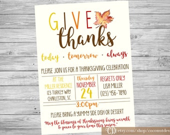 Thanksgiving Dinner Invitation / Thanksgiving Invitation / Dinner Party Invitation / Friendsgiving Invitation / Digital  File