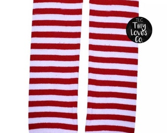 Christmas baby legs. Valentines baby legs. Red and white baby legs. Red baby legs. Stripe baby legs. Christmas baby.