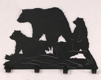 Rustic Country Indoor Wrought Iron Bear Coat Rack - Model # 15-R24D - Made In the USA - Free Shippping