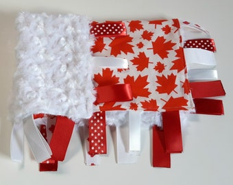 Baby Tag Blanket - Canada Baby Blanket - Neutral Security Blanket - Red Ribbon Blanket - Canada Ribbon Blanket - Baby Gift - Small Blanket