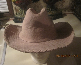 100% soft leather tan cowgirl hat laced edges horse riding farm western dancing size one cabin decor