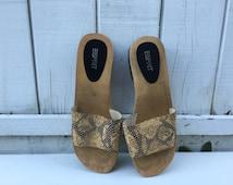 Vintage Wooden Sandals - Snakeskin Esprit Slip On Sandals - Size 10 Platform Sandals - Leather and Wood