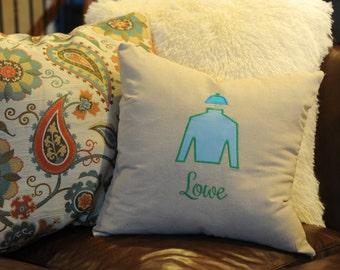 Kentucky Derby throw pillow - Jockey silk - monogrammed derby pillow