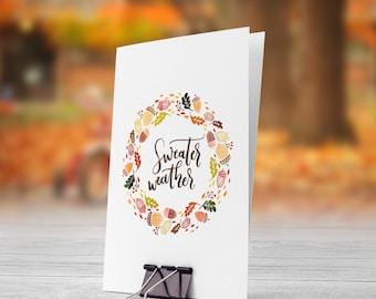 Sweater Weather Fall Wreath 5x7 inch Folded Greeting Card - GC1099
