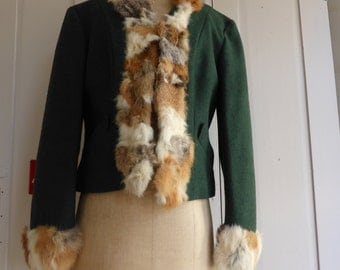 Vintage 1940s green wool jacket with fur collar by The Outsider size S UK 10