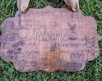WELCOME to our Farm - Wood Welcome Sign with Chickens, vegetables, Barn, Windmill, Tractor and more!