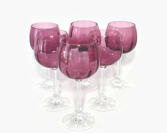 Pilgrim Cranberry Wine Glasses Set of Six
