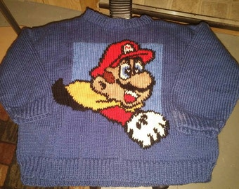 Sweater blue nintendo super mario bros for 6-8 year-old boy
