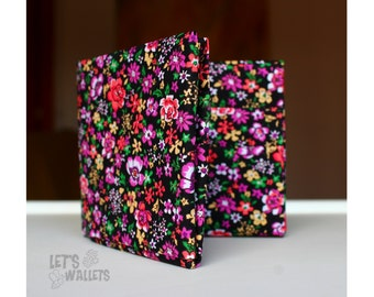 FLOWERS WALLET made with COTTON fabric in origami style