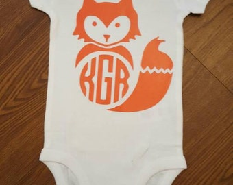 Fall outfit, fox, onesie, holiday, personalized, monogrammed