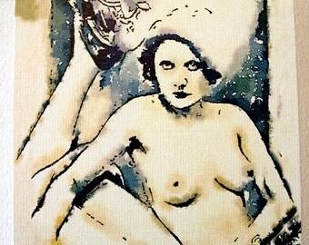 Watercolour postcard - vintage style - erotic postcard -